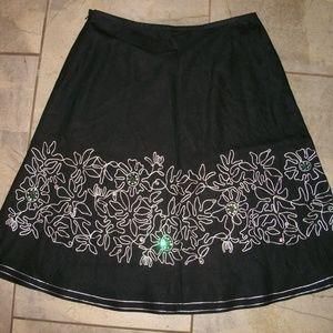 Rafaella Black Linen Full Skirt with Border 12